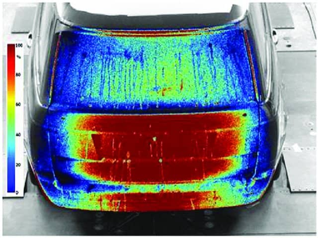 Accumulation of contaminant on the rear of an SUV after 75 s, obtained using a UV fluorescence method in the FKFS thermal wind tunnel - Image credit: FKFS / Adrian Gaylard