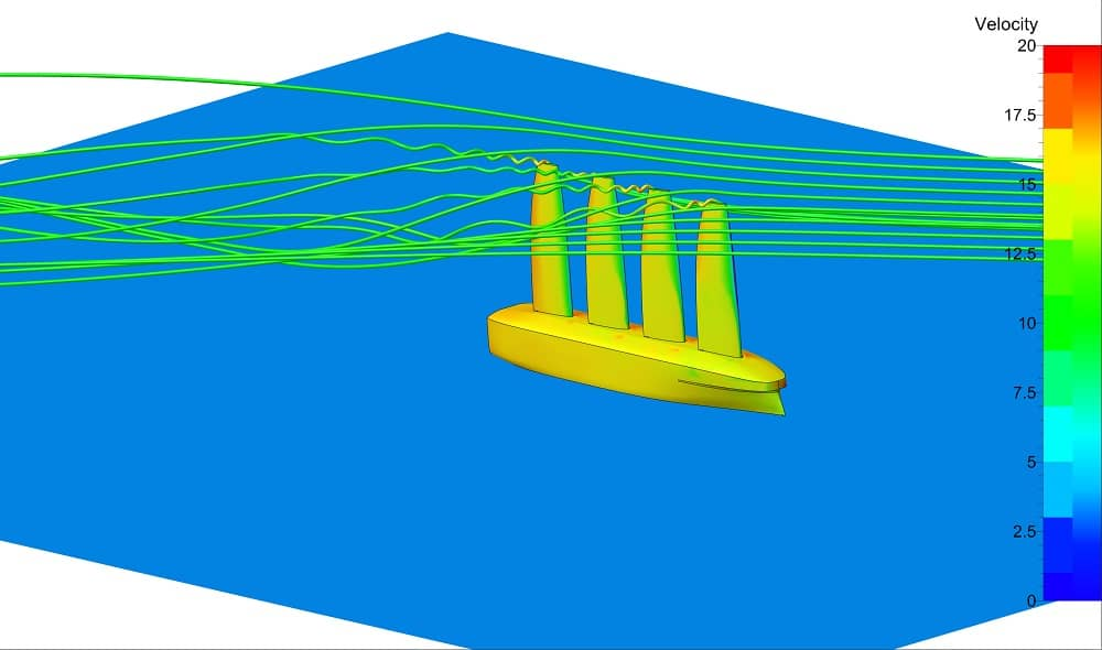 CFD analysis of the sails - port view - Image credit: SSPA Sweden AB