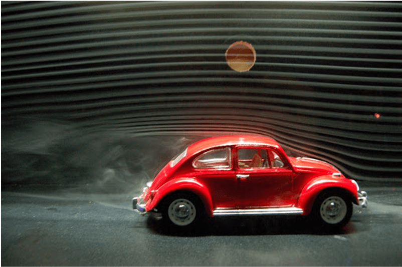 Wind tunnel test of a model VW Beetle displaying the effects of flow separation at the rear. CREDIT: ecomodder.com